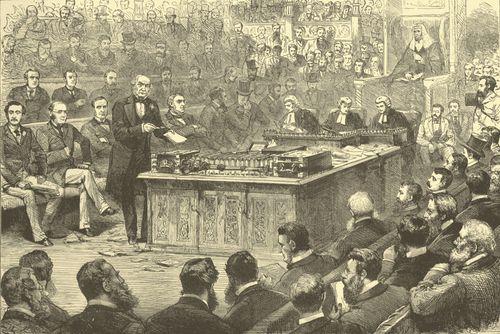William Ewart Gladstone's first Home Rule Bill in British Parliament.
