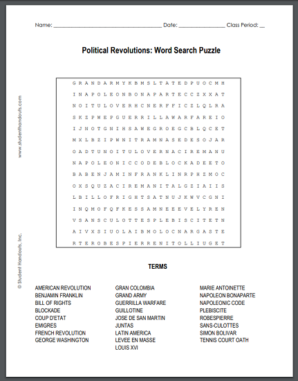 Global Political Revolutions Word Search Puzzle - Free to print (PDF file) for junior and senior high school World History students.