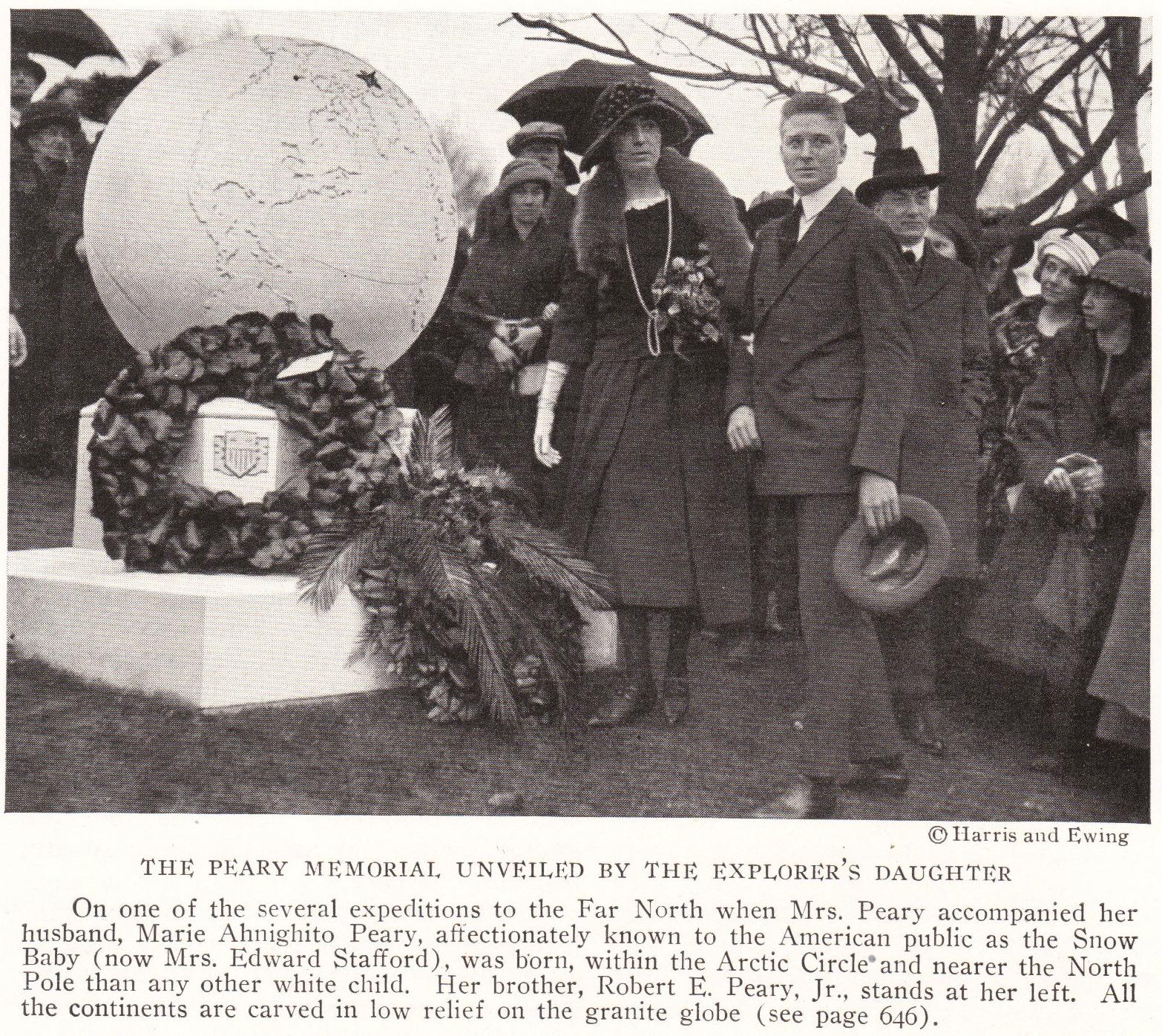 """Robert Peary's """"Snow Baby"""" at His Memorial"""