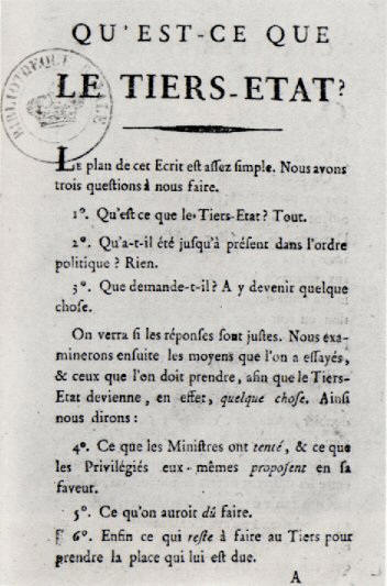 Abbe Sieyes: What Is the Third Estate?  National Assembly, French Revolution, 1789.