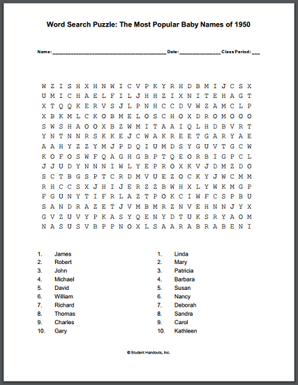 most popular baby names of 1950 word search student handouts