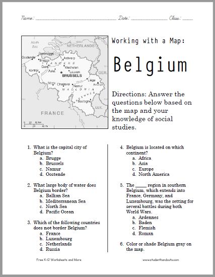 Belgium Map Worksheet - Free to print (PDF file).