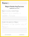 Belgium Handwriting Exercises Worksheet