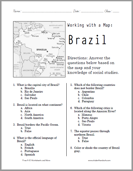 Brazil Map Worksheet - Free to print (PDF file) for World Geography students in grades five through twelve.