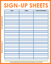 Free Printable Sign-up Sheets