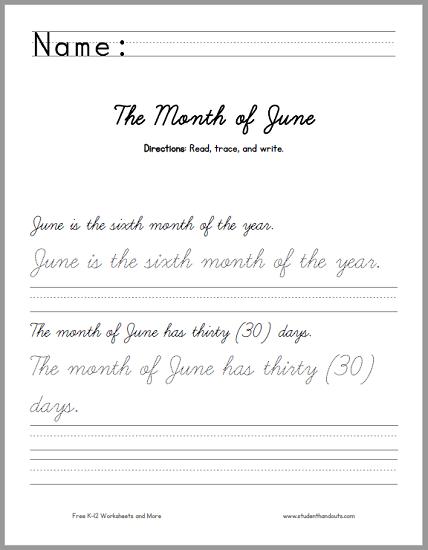 month of june handwriting practice worksheet student handouts. Black Bedroom Furniture Sets. Home Design Ideas