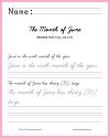 Month of June Sentences Handwriting & Spelling