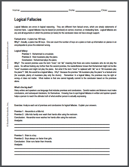 Logical Fallacies Worksheet