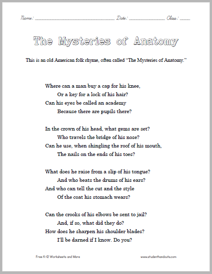 The Mysteries of Anatomy - Printable Poem for Kids