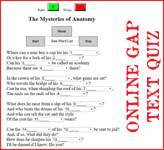 The Mysteries of Anatomy - Online Gap Text Quiz