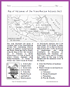 Mexican Volcanoes: Plateau of Anahuac Map Worksheet