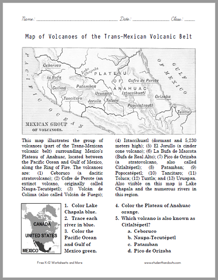 Map of Volcanoes of the Trans-Mexican Volcanic Belt Worksheet - Free to print (PDF file).