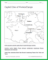 Western European Capital Cities Map Worksheet
