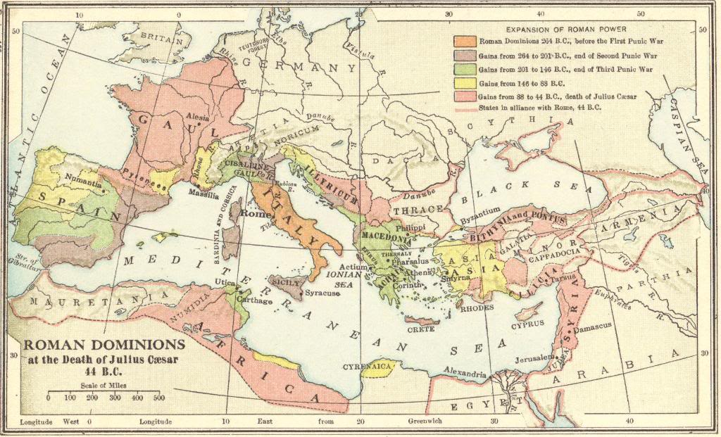 Map of the Roman Empire in 44 B.C.E.