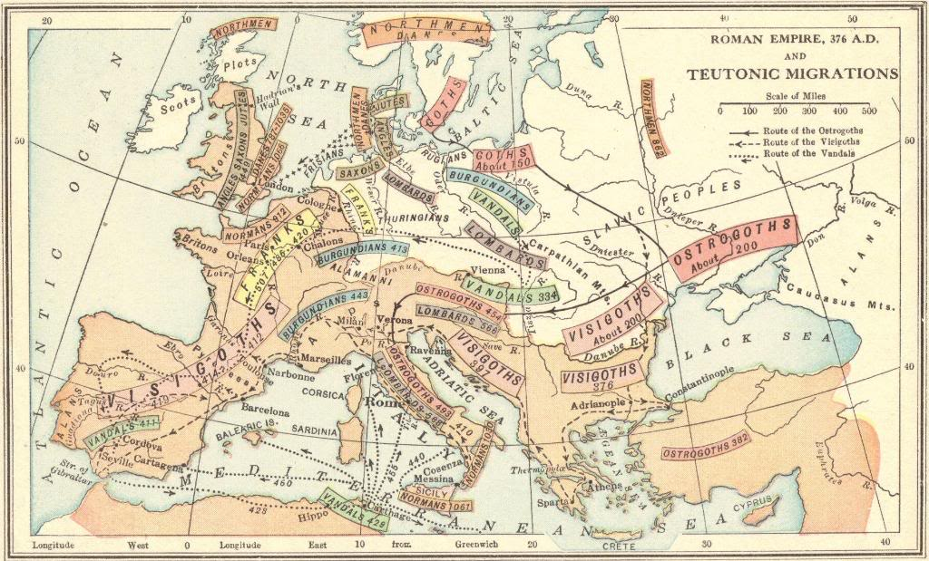 Map of Barbarian Invasions and Migrations in 376 C.E.