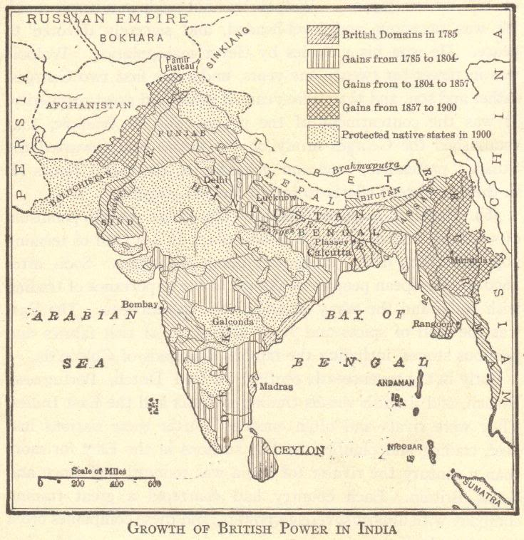 Map of the British Empire in India