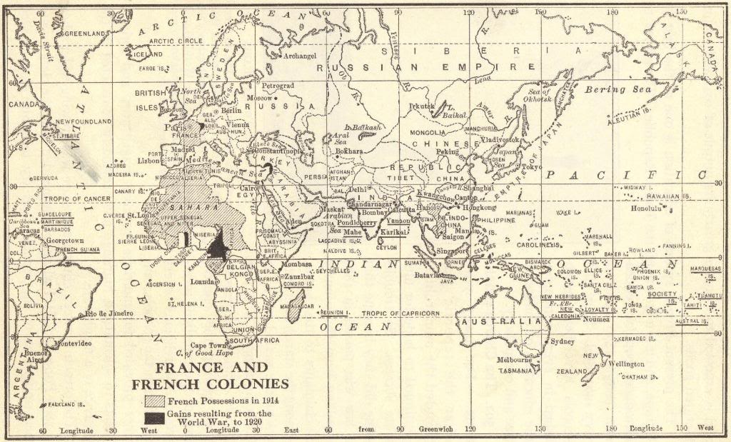 Map of France and the French Colonies circa 1920