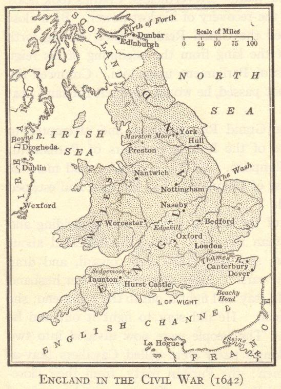 Map of England in the English Civil War (1642)