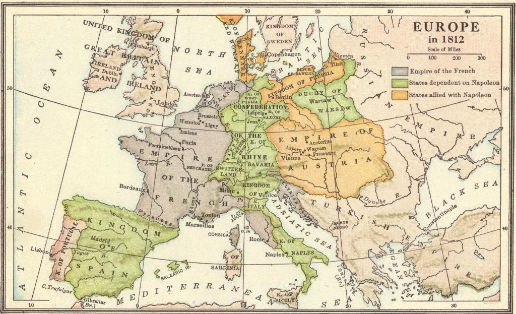 Interactive Map Quiz on Europe in 1812 During the Napoleonic Era