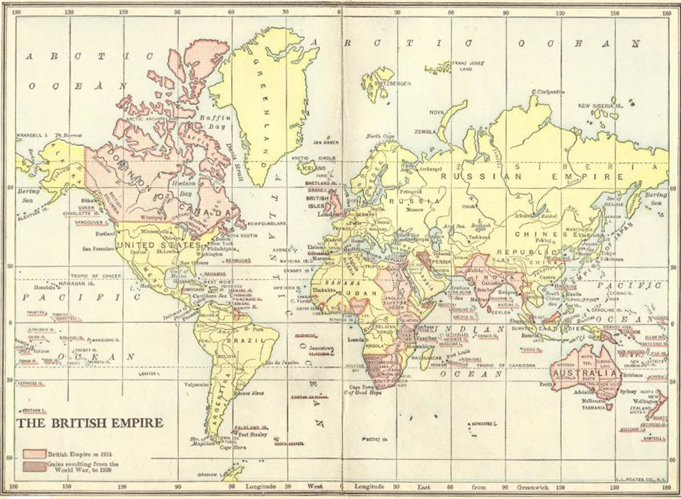 British imperialism: map of the colonial empire of Great Britain in 1920, after World War I.
