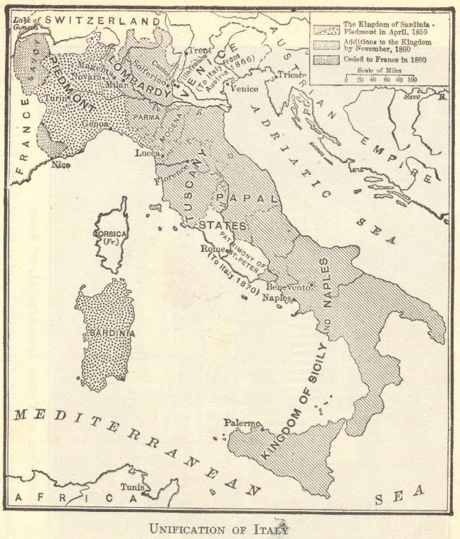 Unification of italy map student handouts map of the unification of italy gumiabroncs Images