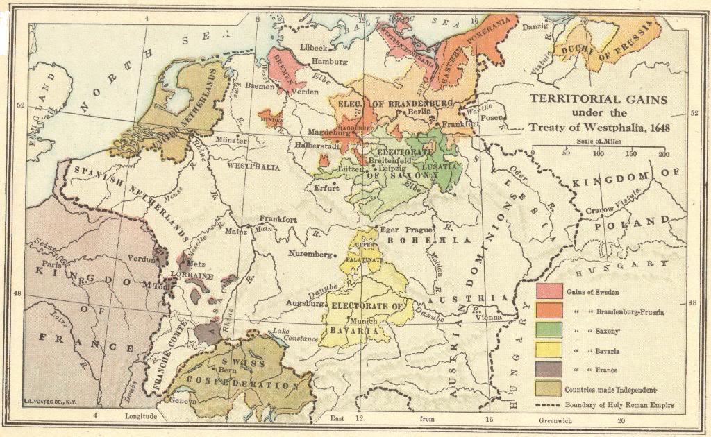 Peace Treaty of Westphalia (1648) Map