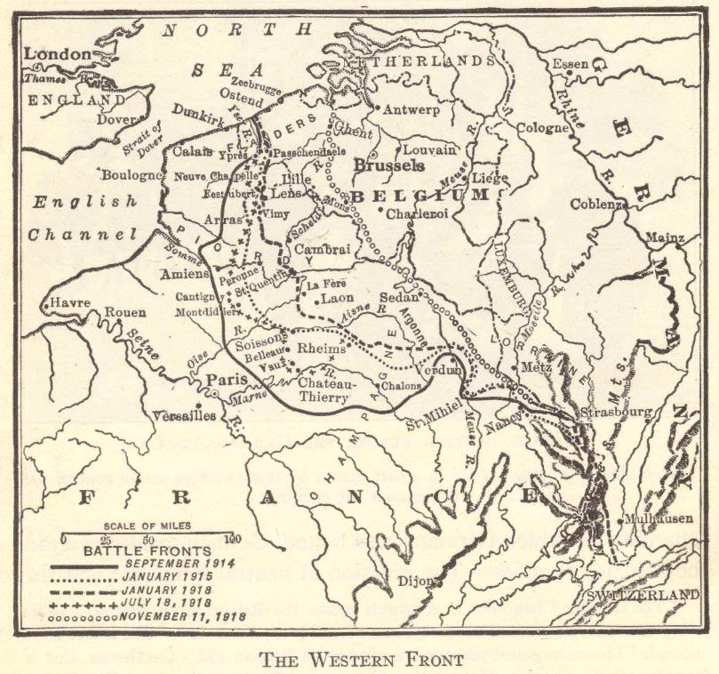 Map of the Western Front in World War I