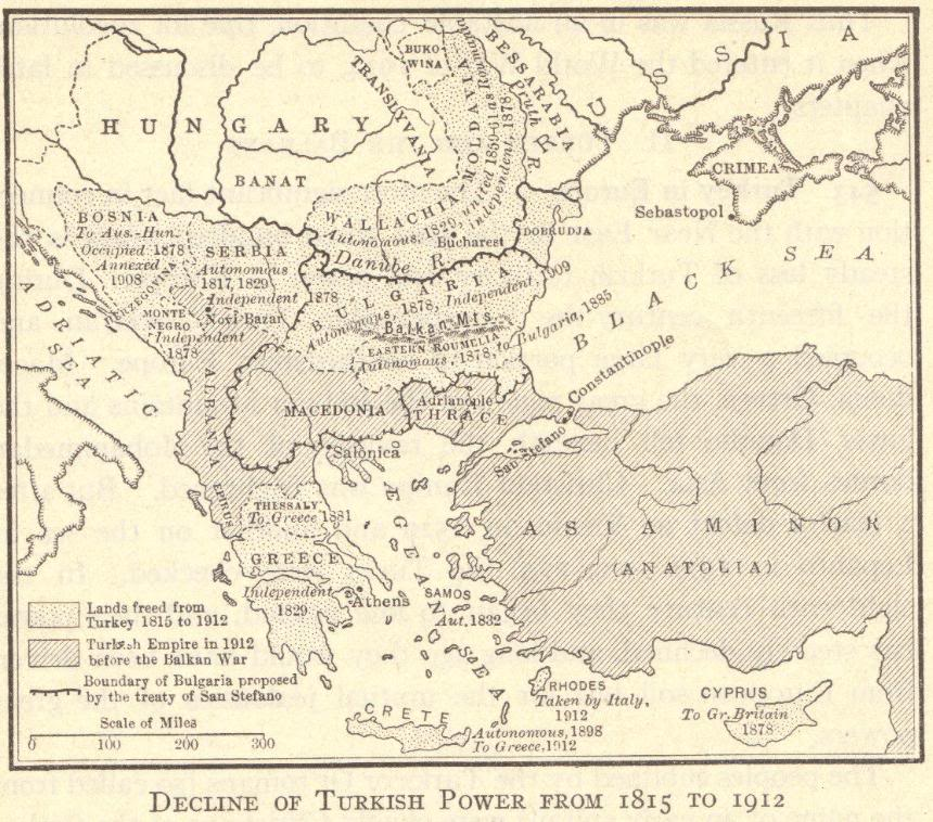 Map of Decline of Turkish Power, 1815-1912
