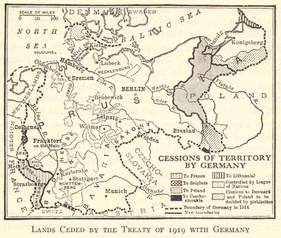 Map of wwi german territorial cessions student handouts german cessions following wwi gumiabroncs Gallery