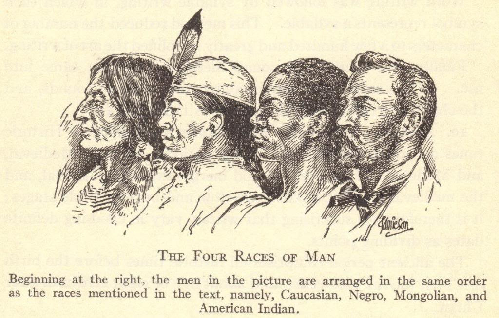 Four Races of Man - As imagined at the turn of the last century.