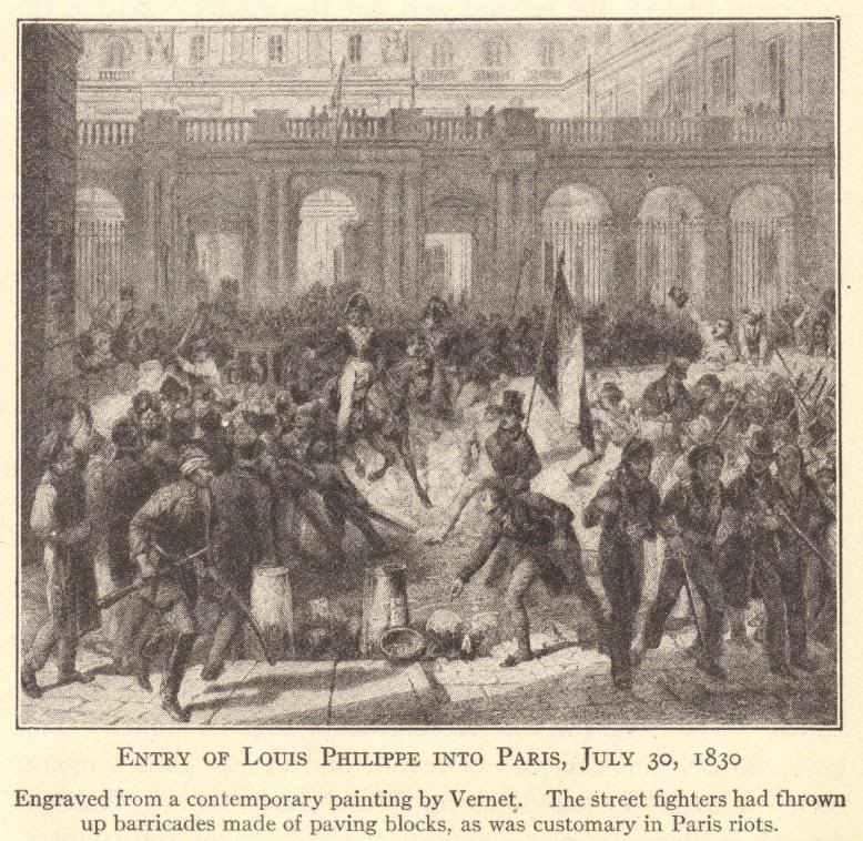Entry of Louis Philippe into Paris, July 30, 1830.  Engraved from a contemporary painting by Vernet.  The street fighters had thrown up barricades made of paving blocks, as was customary in Paris riots.  French Revolution of 1830.