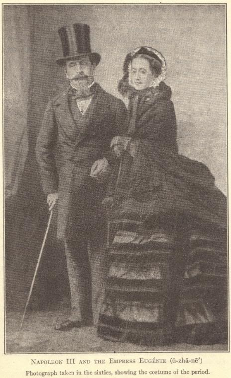 Emperor Napoleon III and the Empress Eugenie.  Photograph taken in the 1860s, showing the costume of the period.