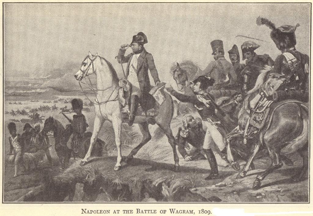 Napoleon Bonaparte at the Battle of Wagram, 1809.