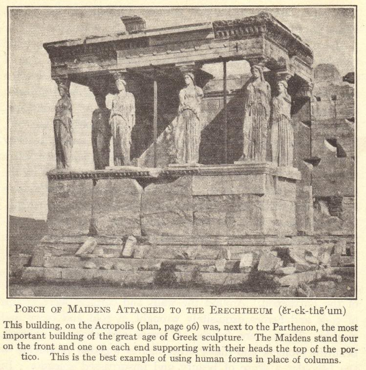 Porch of the Maidens on the Acropolis in Athens, Greece