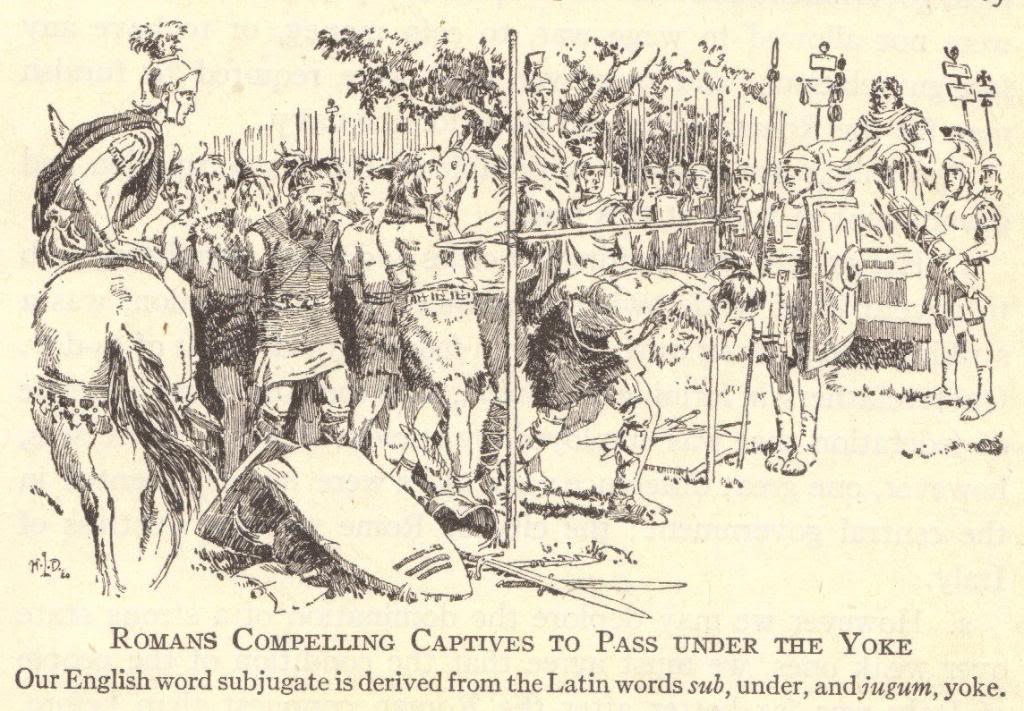 Roman captives passing under the yoke.