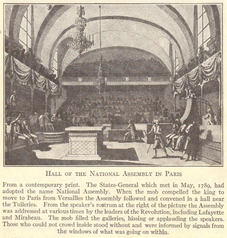 Hall of the National Assembly in Paris, 1789