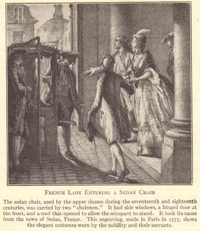 French lady entering a sedan chair before the French Revolution.