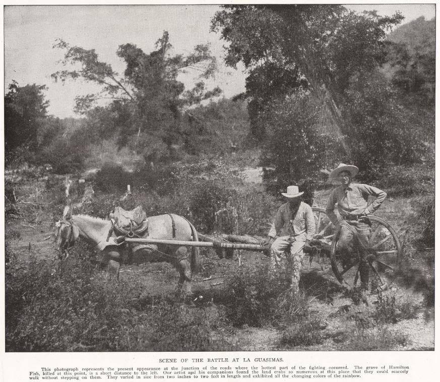 SCENE OF THE BATTLE AT LA GUASIMAS: This photograph represents the present appearance at the junction of the roads where the hottest part of the fighting occurred. The grave of Hamilton Fish, killed at this point, is a short distance to the left. Our artist and his companions found the land crabs so numerous at this place that they could scarcely walk without stepping on them. They varied in size from two inches to two feet in length and exhibited all the changing colors of the rainbow.