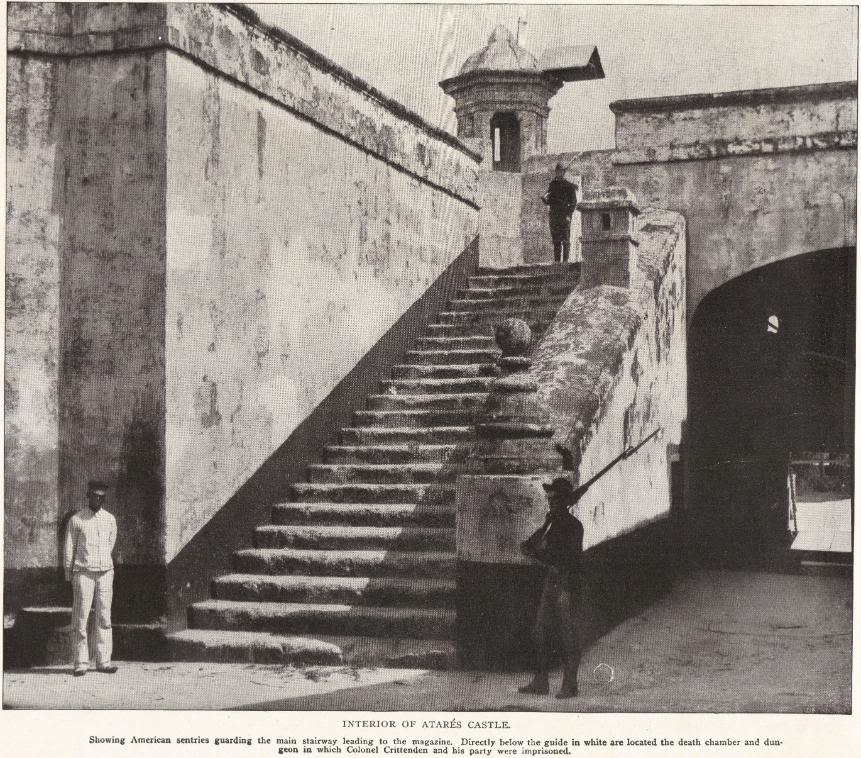 INTERIOR OF ATARES CASTLE: Showing American sentries guarding the main stairway leading to the magazine. Directly below the guide in white are located the death chamber and dungeon in which Colonel Crittenden and his party were imprisoned.