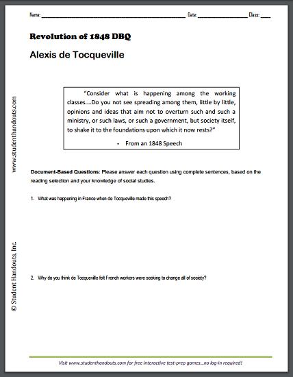Revolution of 1848 - Alexis de Tocqueville - DBQ woeksheet. Free to print (PDF file).