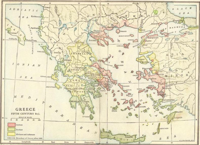 Fifth-Century B.C.E. Map of Greece