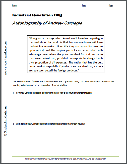 Autobiography Printable Worksheets : Autobiography of andrew carnegie dbq worksheet student