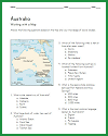 Australia Map Worksheet