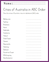 Australian Cities in ABC Order Worksheet