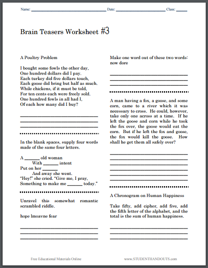 picture relating to Printable Brain Teasers referred to as Mind Teasers Worksheet #3 University student Handouts
