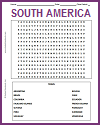 South American Countries Word Search