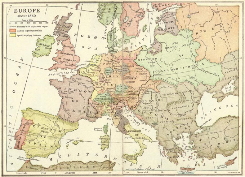 Map Of Europe 1560.Map Of Europe About 1560 Student Handouts