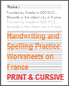 Copywork Worksheets on France