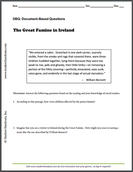 The Great Famine in Ireland by William Bennett - DBQ worksheet is free to print (PDF file).