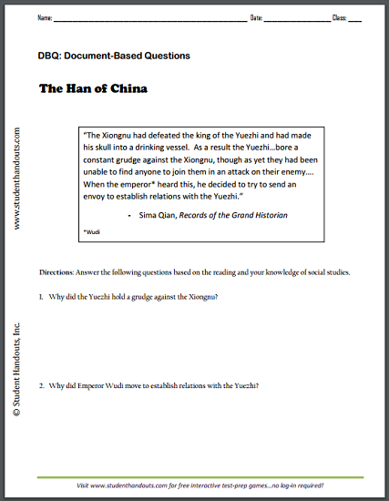 Sima Qian - Records of the Grand Historian - DBQ worksheet is free to print (PDF file).
